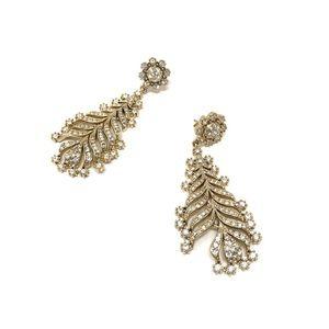 J. Crew Gold Tone Crystal Chandelier Earrings